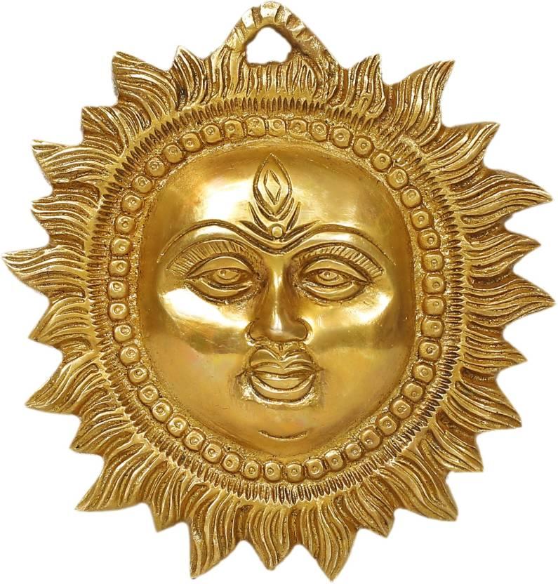 Sun Surya Face Murti Idol Statue Sculpture Decorative Showpiece 14 Cm Br Brown