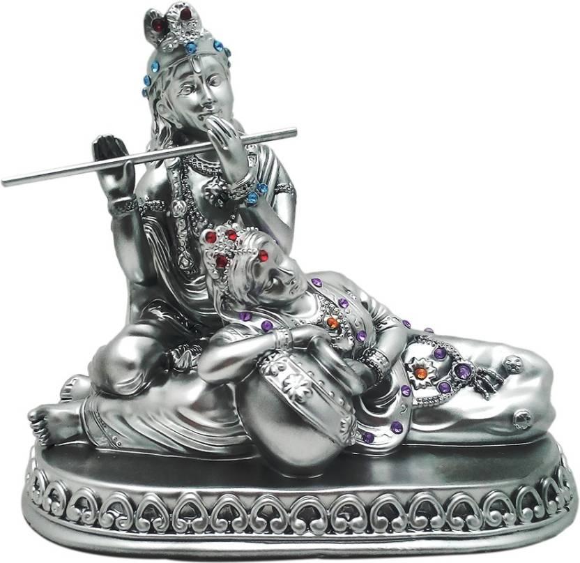 Art N Hub Silver Finish Lord Radha Krishna Love Couple