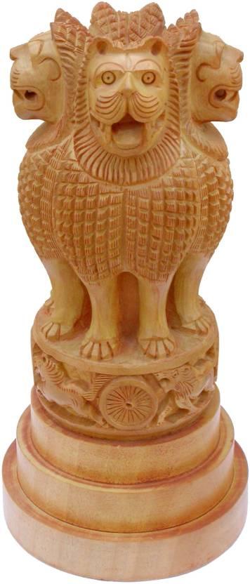 JindalCrafts ASHOK STAMBH HAND CARVED ASHOKA PILLAR NATIONAL EMBLEM SYMBOL  LION OF SARNATH INDIA Decorative Showpiece - 20 cm