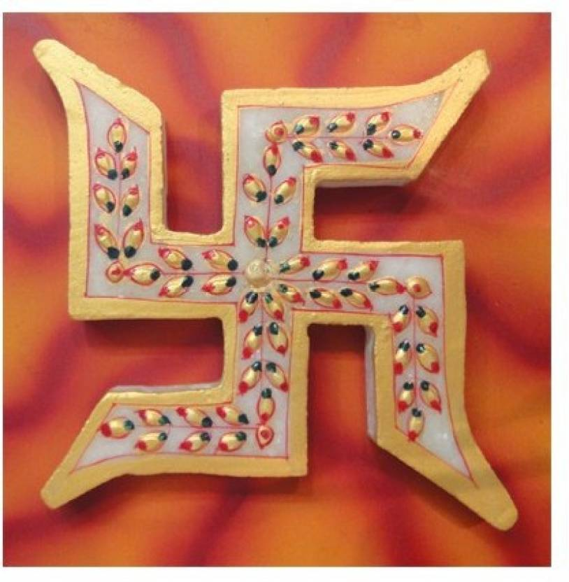 Dharohar The Heritage Swastik Made Of Marble With Board Decorative