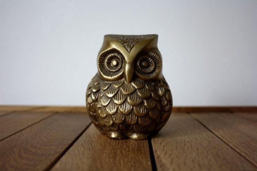 Owl The Bird Of Wisdom Solid Brass   3.5 inch Tall