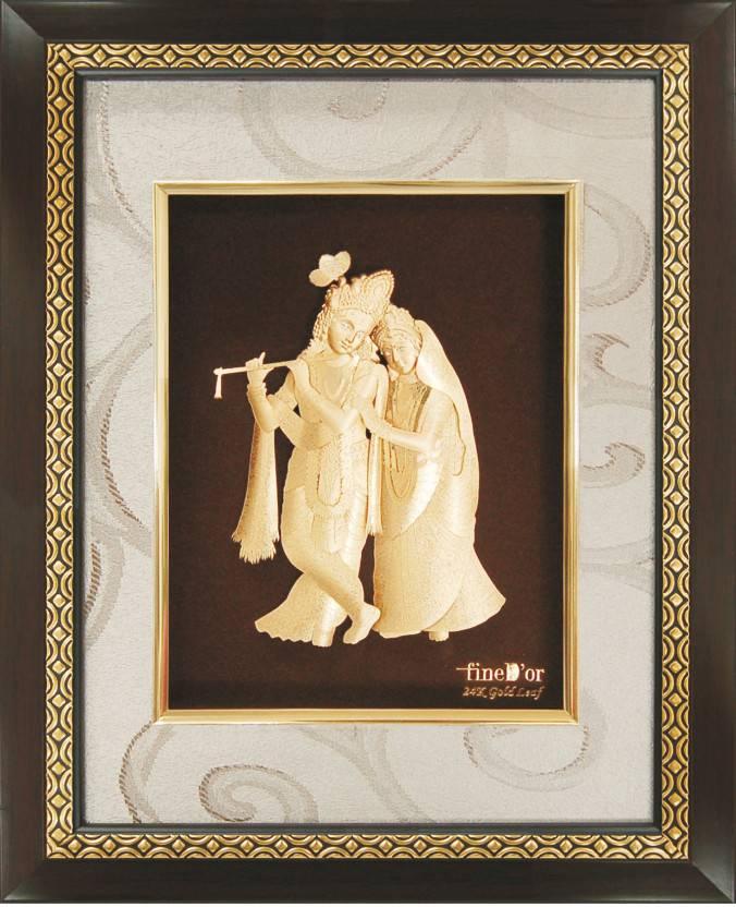 657d38489c9d FineDor 24K Gold Leaf Frames Radha Krishna Decorative Showpiece - 16 cm  (Wooden