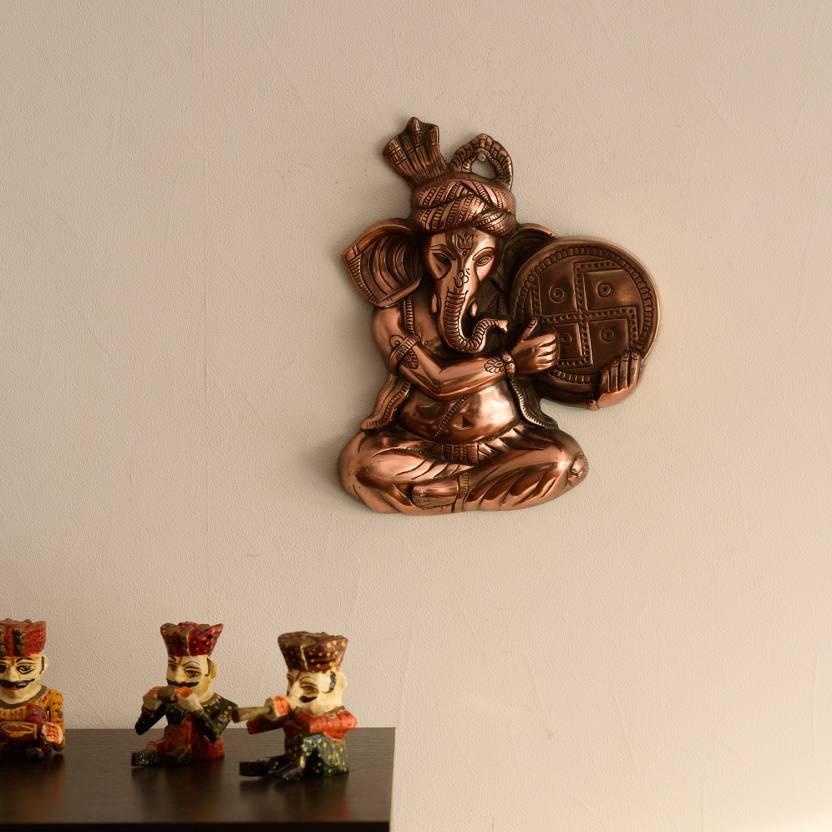 eCraftIndia Musician Phagdi Lord Ganesha Metal Wall Hanging Showpiece  -  33 cm
