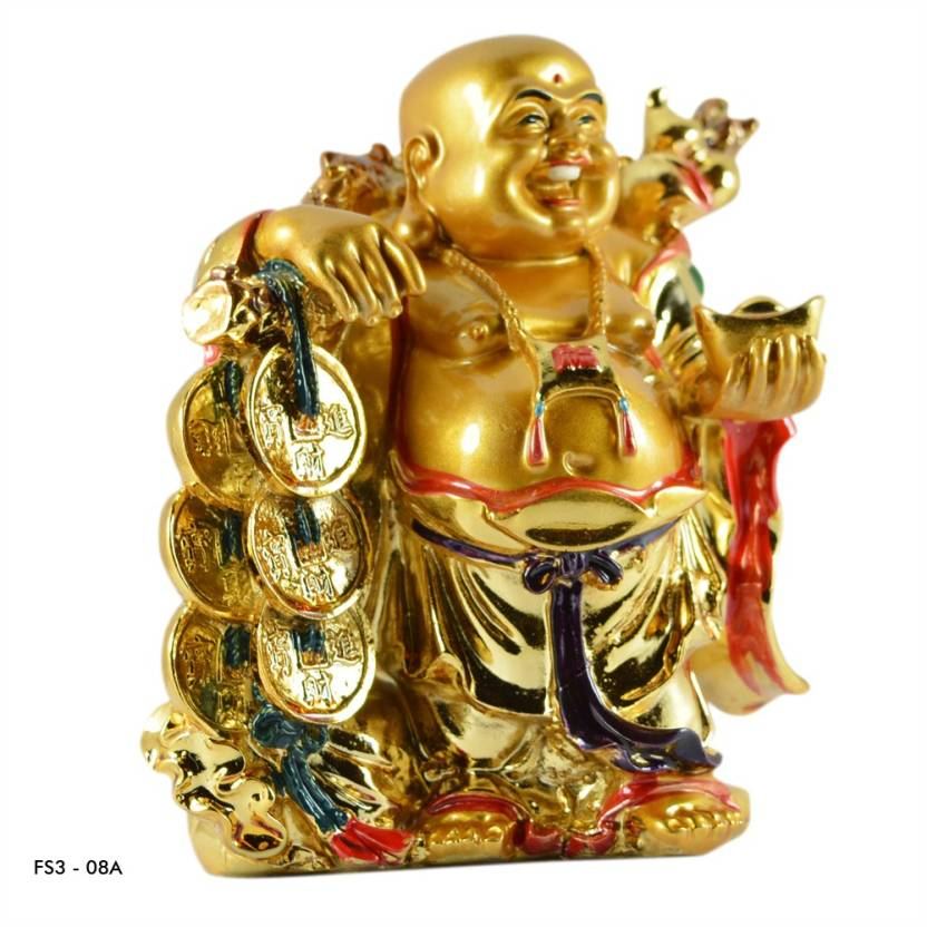 Reiki Crystal Products Vastu / Feng Shui Laughing Buddha With Coins For  Wealth And Success, Good Luck & Prosperity, Feng Shui Idol, Showpiece