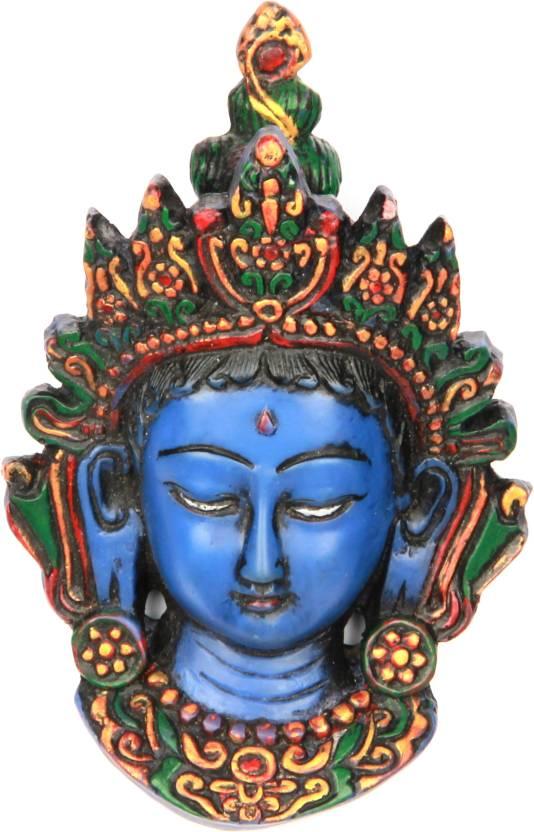 The Nodding Head Half Eye Closed Goddess Durga (Blue) Showpiece  -  13 cm