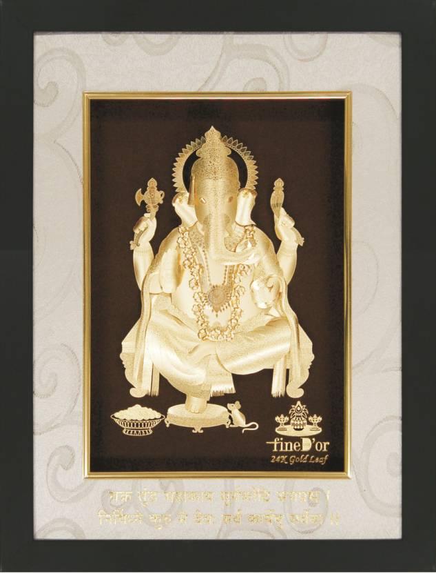 fd5de8ac33b0 FineDor 24K Gold Leaf Frames Lord Ganpati Decorative Showpiece - 25 cm  (Wooden