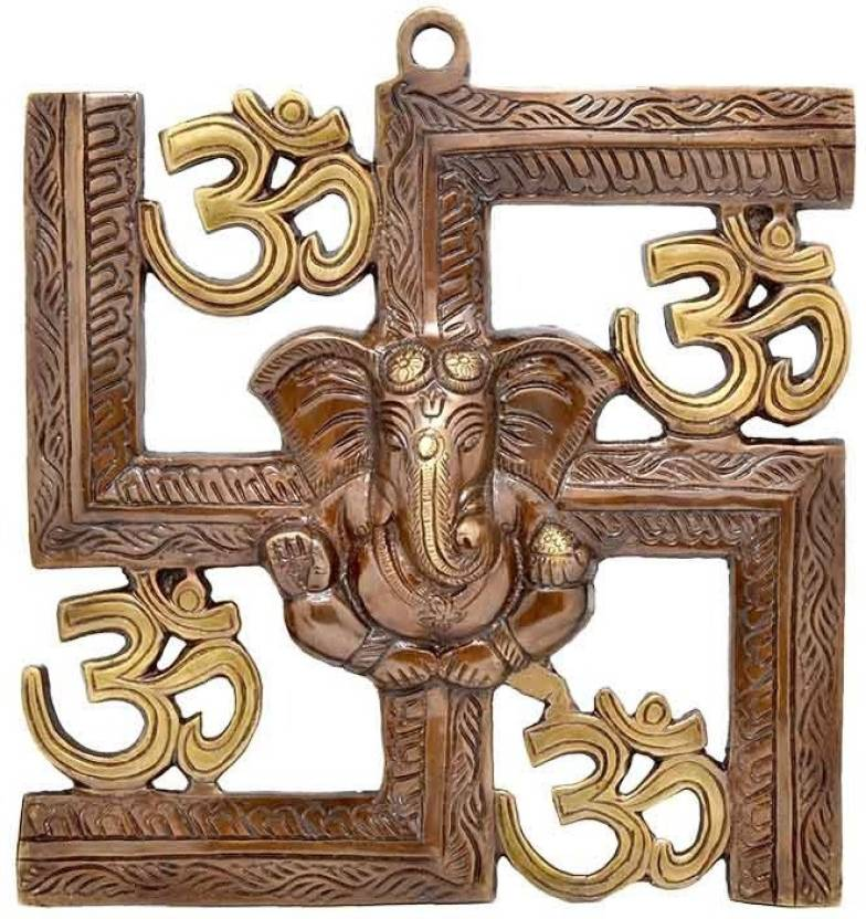 JaipurCrafts Wall Hanging Of Lord Ganesha On Swastik With Om Showpiece  -  22.86 cm