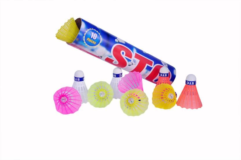 STC Plastic Coloured Shuttle cock Plastic Shuttle   Multicolor Medium Slow, 76, Pack of 10