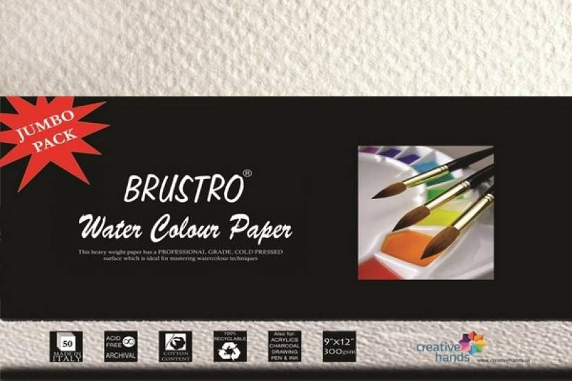 Brustro Water Color Papers 300 gsm 9 x 12 inch Jumbo Pack Sketch Pad ...