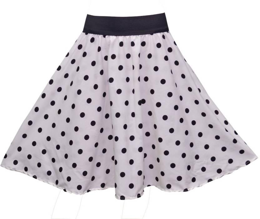 Shopingfever Polka Print Women S Regular White Black Skirt Buy