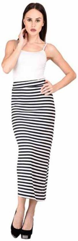 2c1ee43627 Raabta Fashion Striped Women's Pencil Black, White Skirt - Buy Black ...