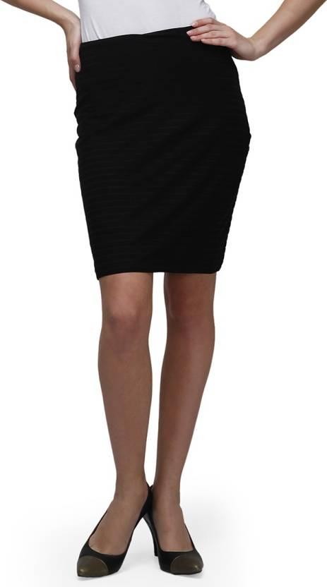 Cherymoya Solid Women's Pencil Black Skirt
