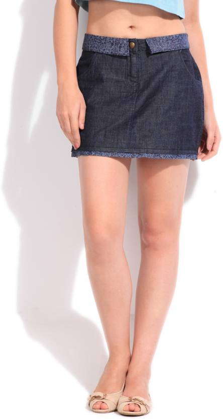 bc8f2a658482 Ginger Solid Women s Pleated Blue Skirt - Buy BLUE Ginger Solid Women s  Pleated Blue Skirt Online at Best Prices in India