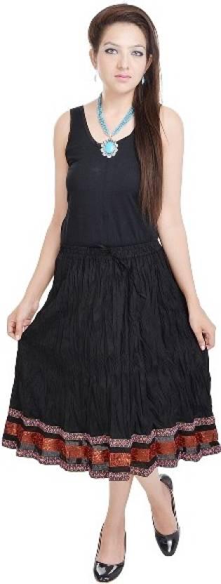 Anshu Handicrafts Printed Women S Straight Black Skirt Buy Black