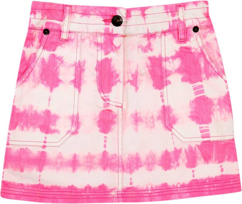 UFO Graphic Print Girls A-line Pink Skirt
