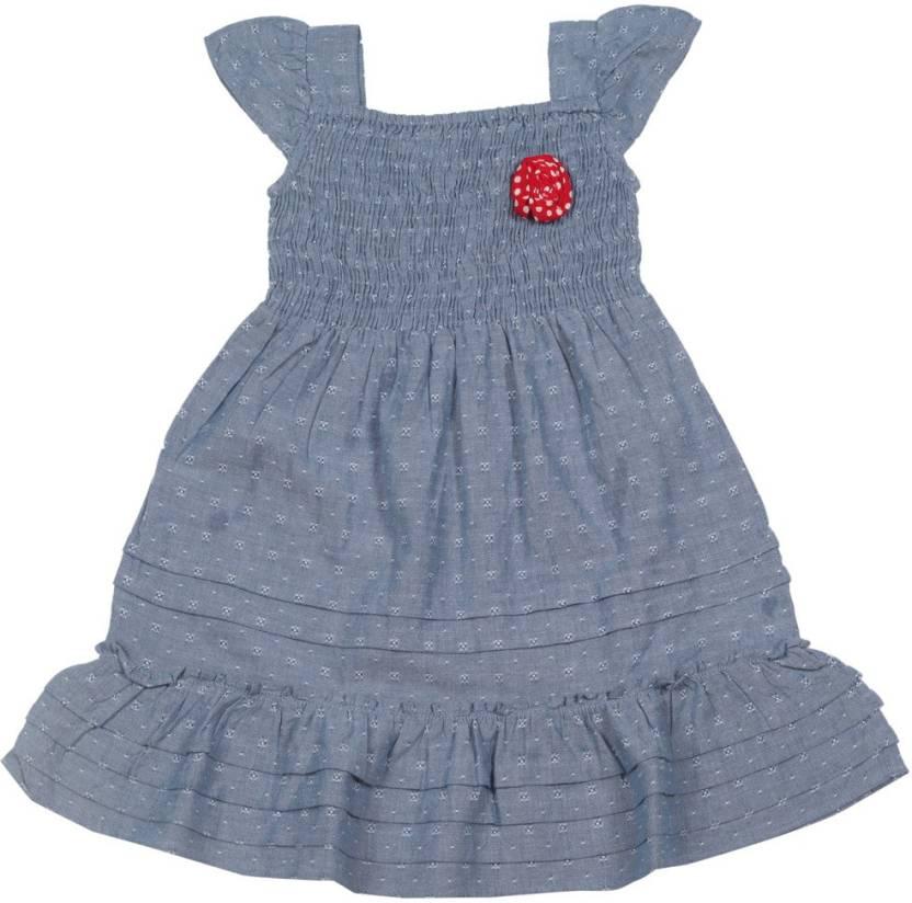 People Girls Midi/Knee Length Casual Dress(Dark Blue, Half Sleeve)