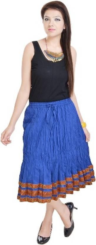 Anshu Handicrafts Printed Women S Straight Blue Skirt Buy Dark