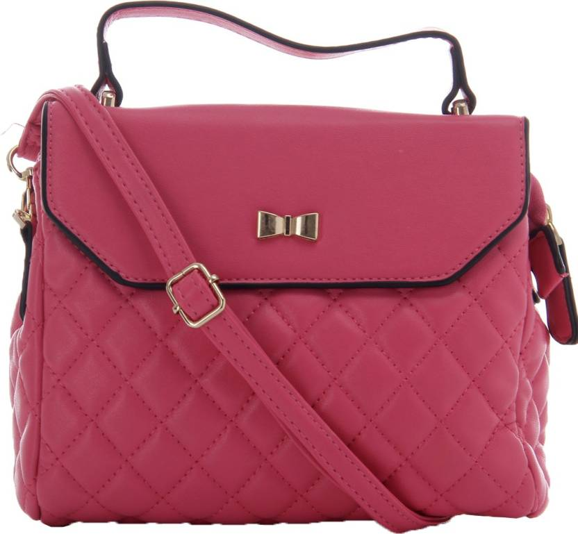 GLAM DIVA Women Casual Pink PU Sling Bag Pink - Price in India