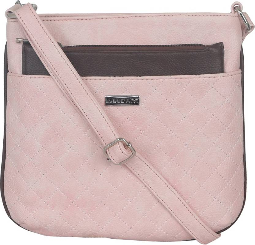 Esbeda Women Casual Pink Leatherette Sling Bag
