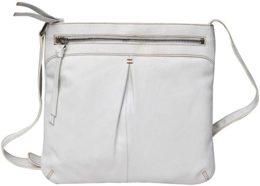 2a66f090354e Hawai Women Casual White Genuine Leather Sling Bag White-01 - Price in  India