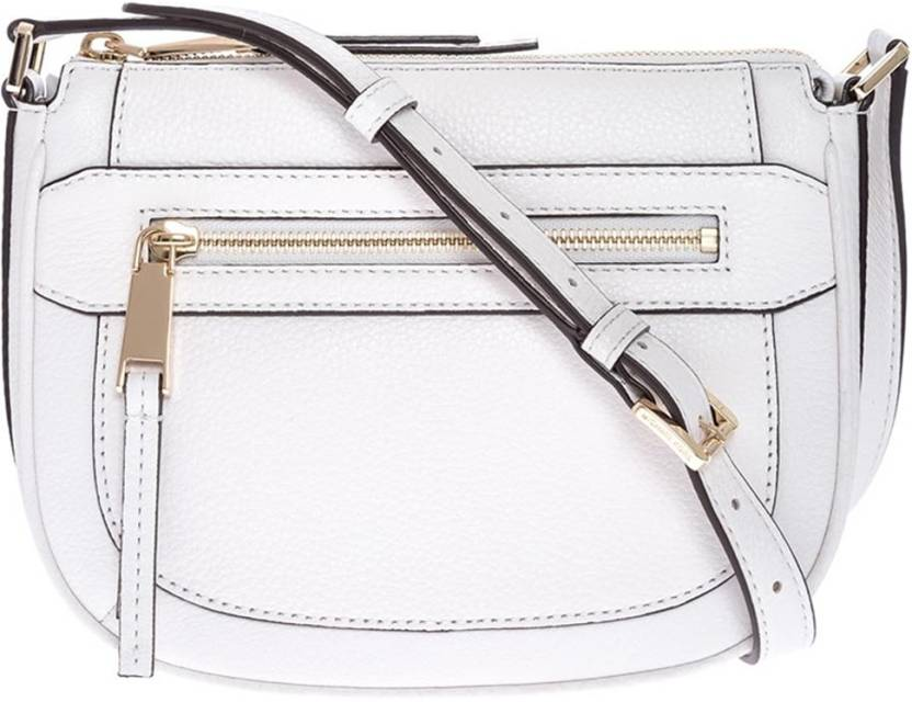 d0c66cd9b841a6 Michael Kors Women Casual White Genuine Leather Sling Bag White - Price in  India | Flipkart.com