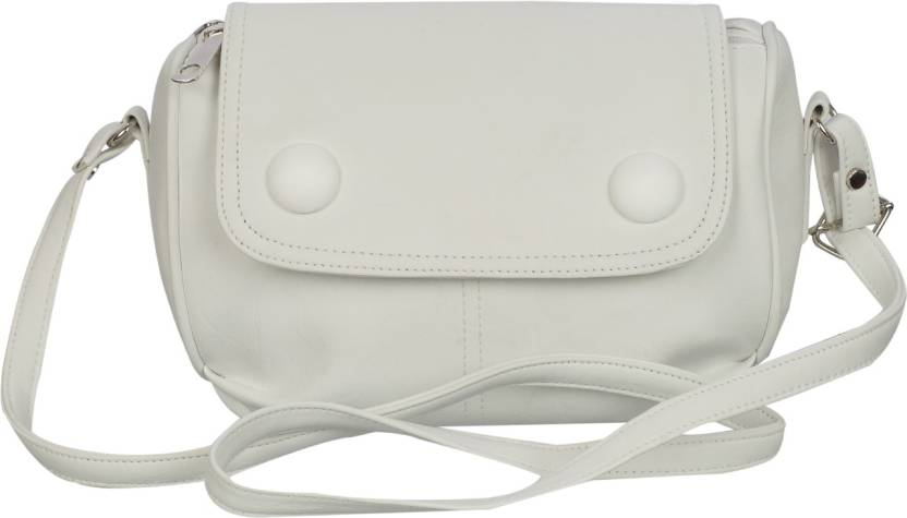 e33a309e9337 Leather Land Women Casual White Leatherette Sling Bag Snow White-9 - Price  in India