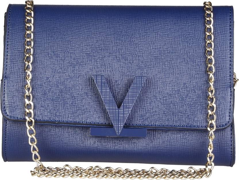 b0f34f7366 MARIO VALENTINO Women Evening/Party Blue Genuine Leather Sling Bag Blue -  Price in India | Flipkart.com