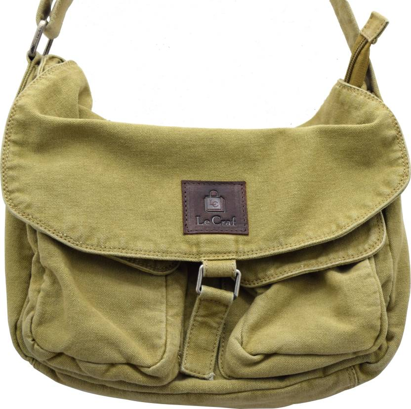 2601dbf95d Le Craf Men Casual Khaki Canvas Sling Bag Khaki-13 - Price in India ...