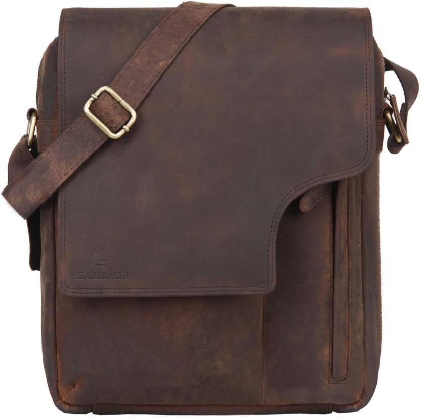 5935aa91258 Leaderachi Men   Women Casual, Formal, Sports Brown Genuine Leather Sling  Bag Muskat - Price in India   Flipkart.com
