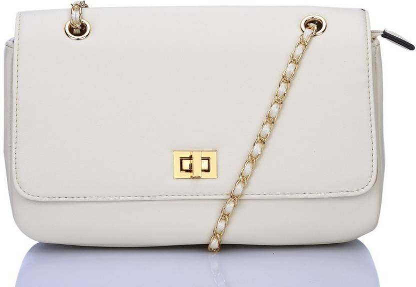 6701a917a9ec Caprese Women White Genuine Leather Sling Bag OFFWHITE - Price in India