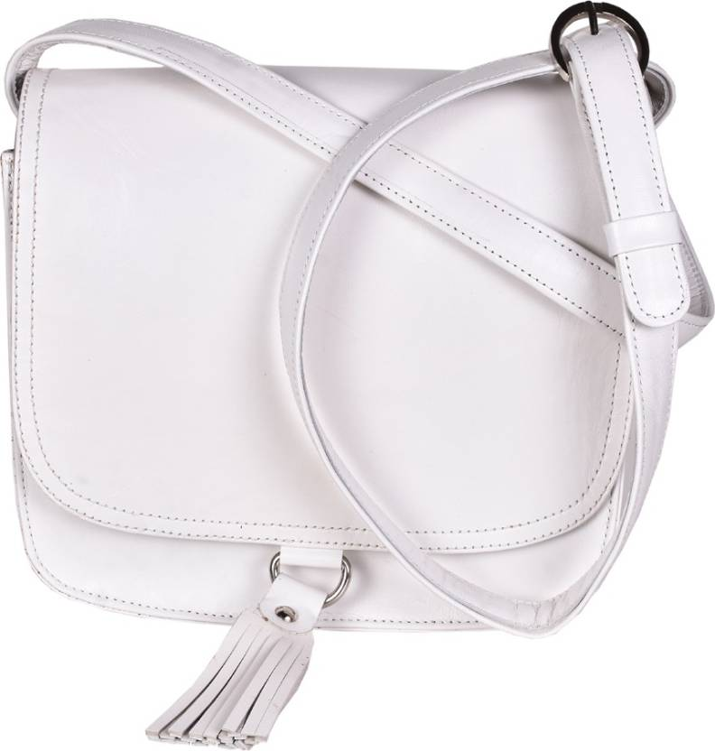 f40955dab4f6 Rever Girls Casual White Genuine Leather Sling Bag White - Price in India