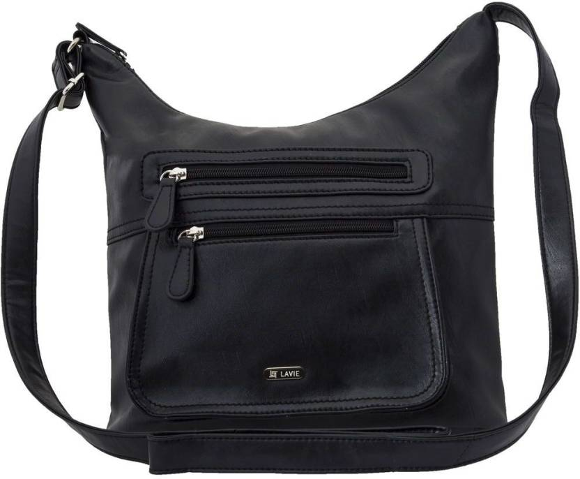 Lavie Women Casual Black PU Sling Bag Black - Price in India ... 42ee9c92dafd9
