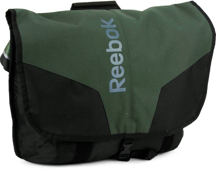 Reebok Men Black, Green Polyester Sling Bag