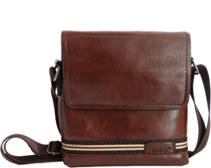 Goblin Men & Women Formal Brown PU Sling Bag Brown - Price