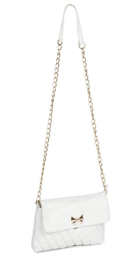 Lychee Bags Women Casual White PU Sling Bag 0584284bb259c