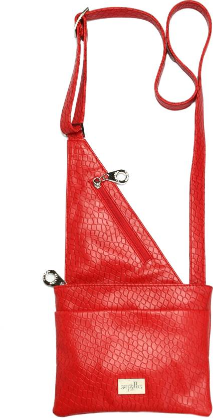 Espelho Women Casual Red Polyester, Genuine Leather Sling Bag