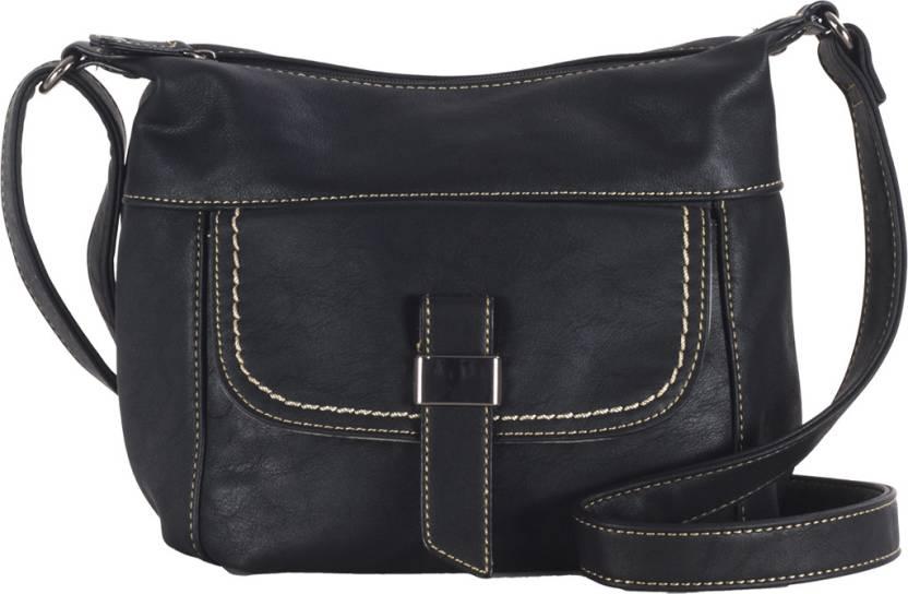 8bf8633c7e9 David Jones Women Casual Black PU Sling Bag Black - Price in India ...