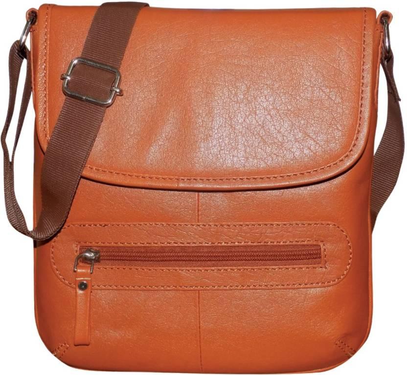 Style 98 Men   Women Casual Tan Genuine Leather Messenger Bag Tan - Price  in India  df2795012dfe5