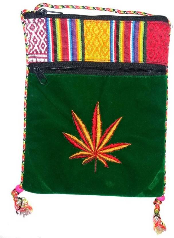 Hr Handicrafts Boys Girls Green Canvas Sling Bag Multicolor