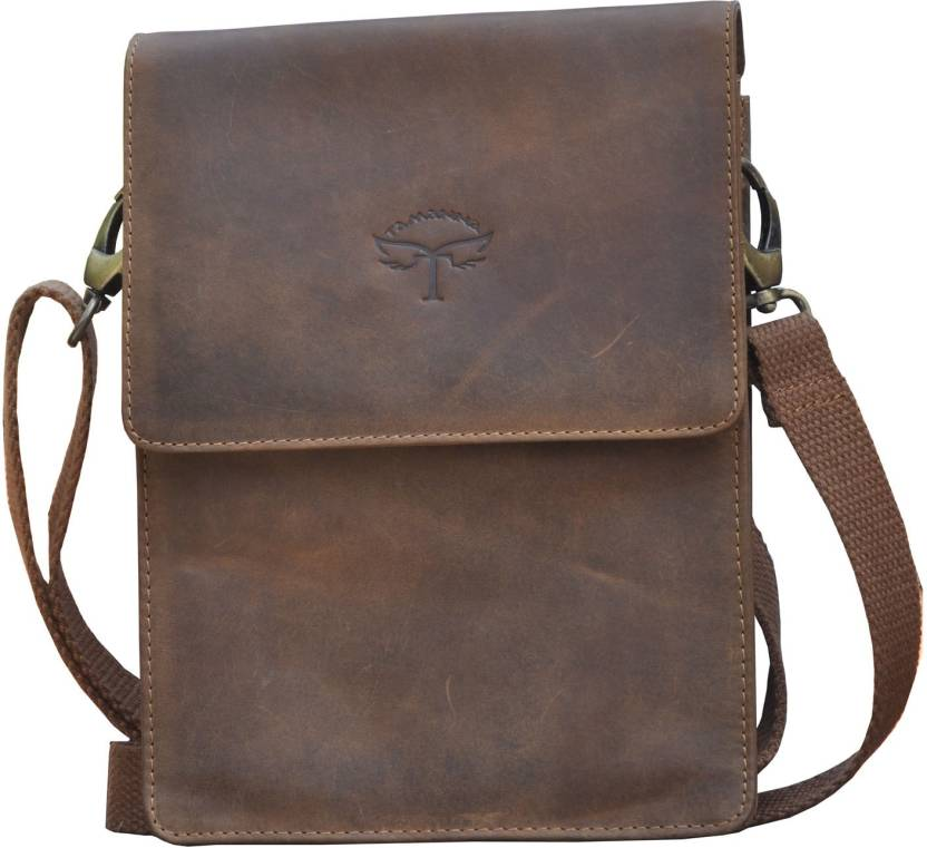 2a3d29bddc25 Tamanna Men   Women Casual Brown Genuine Leather Sling Bag BROWN - Price in  India