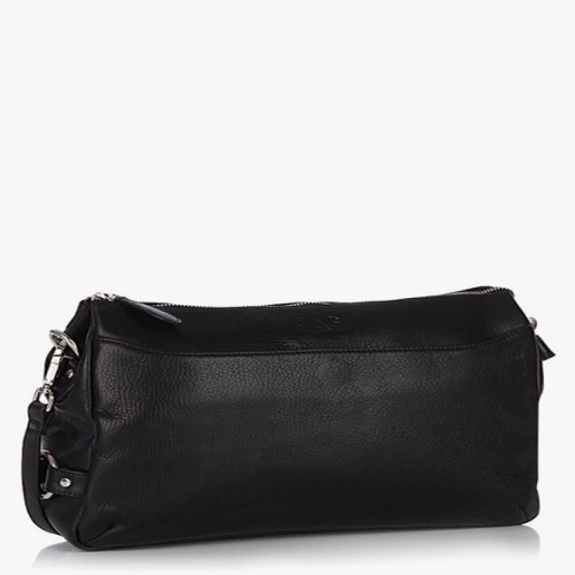 Jag Women Black Genuine Leather Sling Bag
