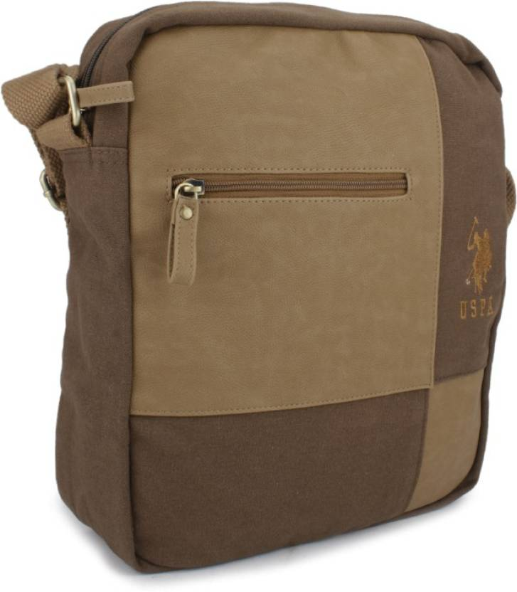1bcfd64b9e91 U.S. Polo Assn. Men   Women Casual Brown Canvas Sling Bag Brown - Price in  India