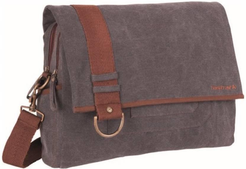 593659938d2da Fastrack Men Casual Grey Canvas Messenger Bag GREY - Price in India ...