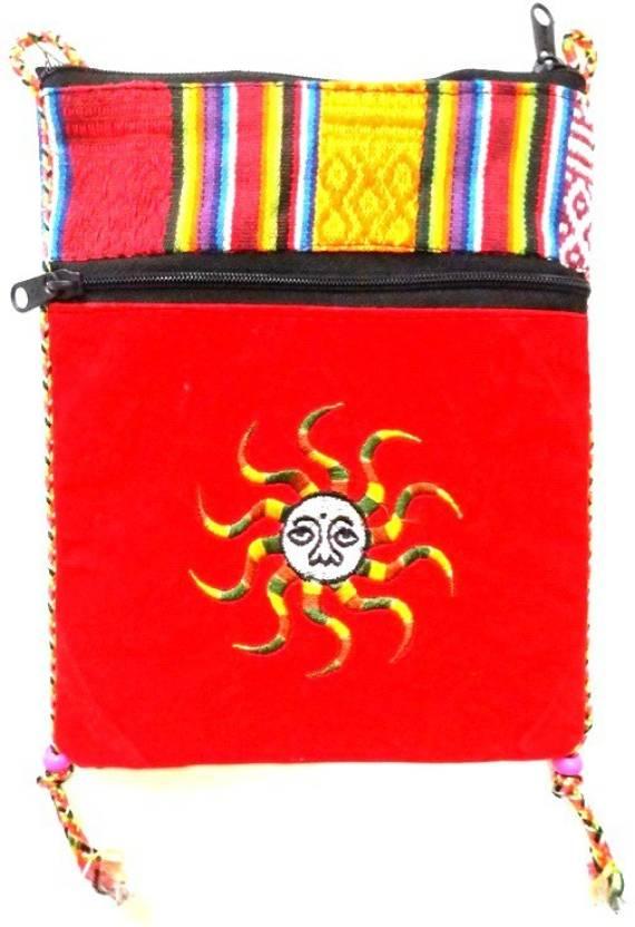 Hr Handicrafts Boys Girls Red Canvas Sling Bag Multicolor Price