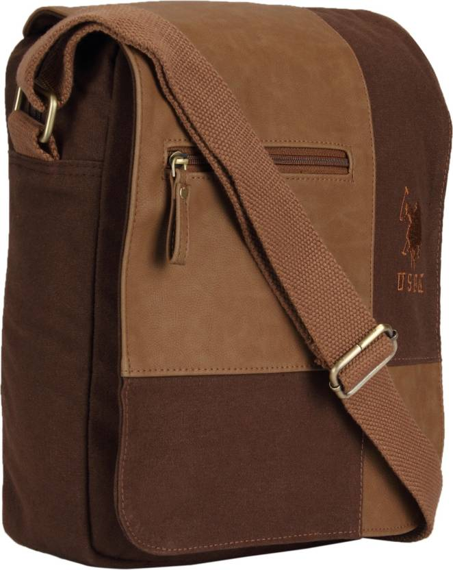 caf9a81e8209 U.S. Polo Assn Men   Women Brown Canvas Sling Bag BROWN - Price in India