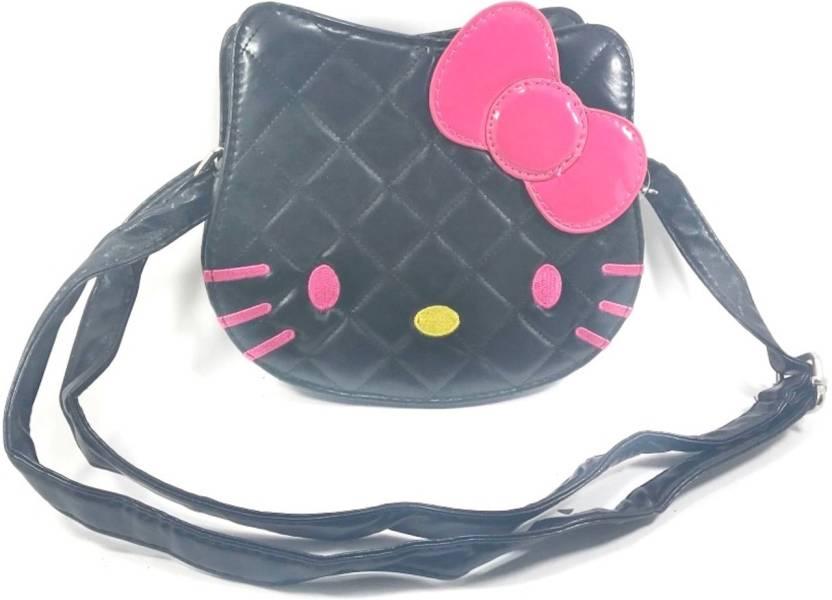 Kidofash S Black Leatherette Sling Bag