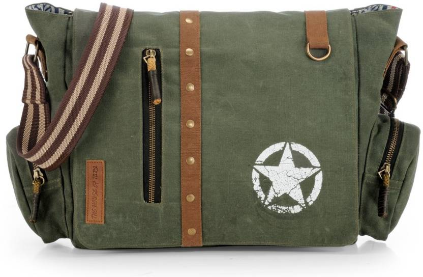 65027a21d430 The House of Tara Men   Women Casual Green Canvas Sling Bag Green - Price  in India