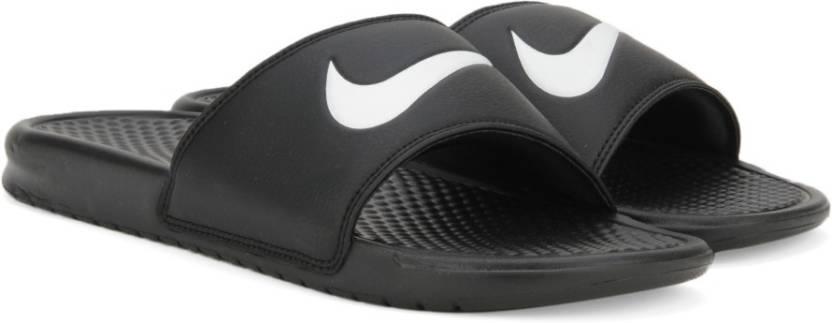 a90532153088 Nike BENASSI SWOOSH Slides - Buy BLACK WHITE NOIR VRAI BLANC Color ...