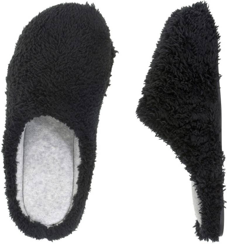 Dearfoams Fluffy Terry Slippers - Buy Black Color Dearfoams Fluffy ...