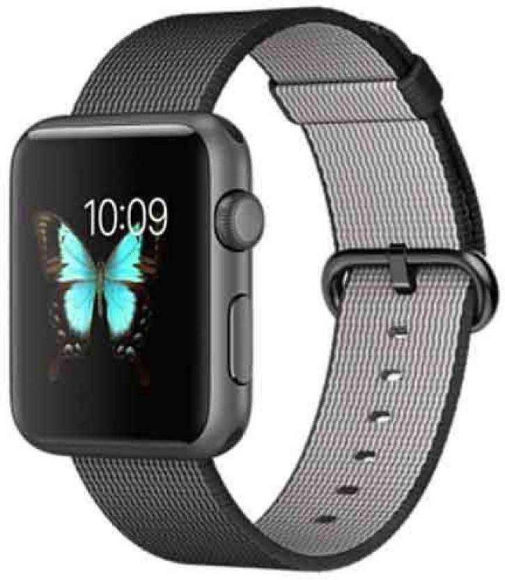 Apple Watch 42mm Space Gray Aluminium with Black Woven Nylon Strap Grey Smartwatch